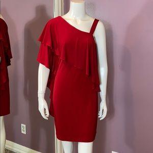 London Times One-Shoulder Ponte Mini Dress